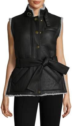 Derek Lam 10 Crosby Women's Leather Stand Collar Jacket
