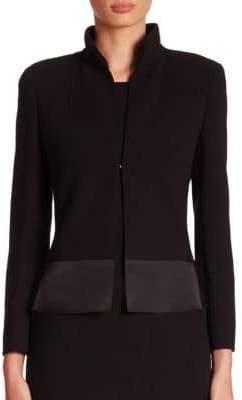 Akris Ilke Organza-Hem Wool Crepe Jacket