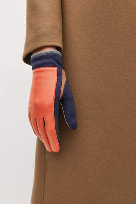Cos COLOUR-BLOCK LEATHER GLOVES