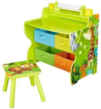 Senda Jungle Kids Writing Desk and Chair with 4 Storage Bins