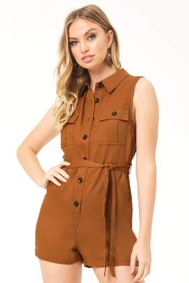 Forever 21 Belted Button-Front Romper