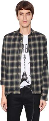 The Kooples Zip-Up Viscose Plaid Shirt