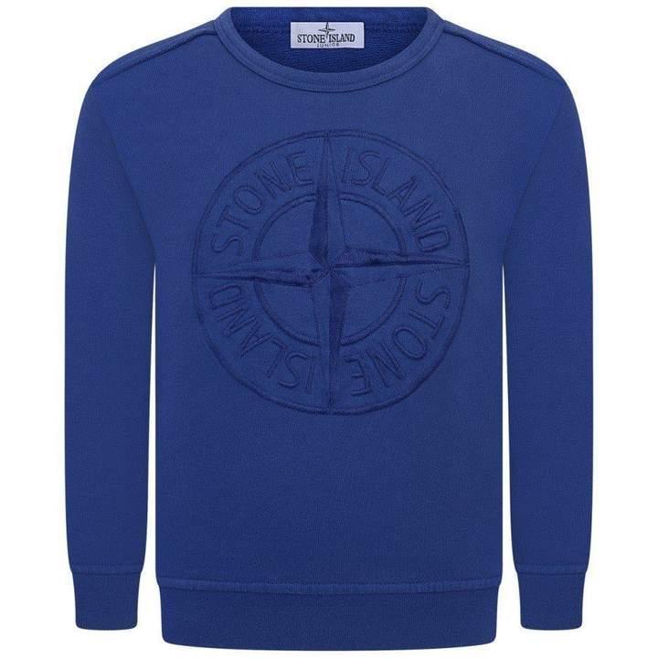 Stone IslandBoys Blue Embroidered Logo Sweater