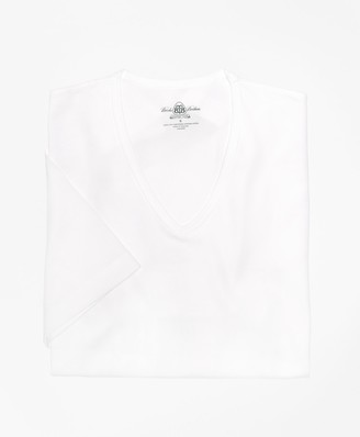 Brooks Brothers Country Club Mercerized Cotton V-Neck