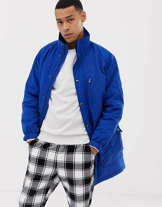 Asos DESIGN parka with funnel neck in blue