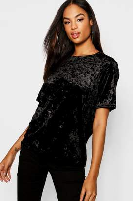 boohoo Tall Crushed Velvet T-Shirt