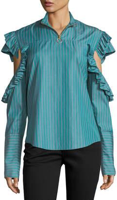 Neiman Marcus Maggie Marilyn Truth-Teller Split-Sleeve Striped Poplin Shirt