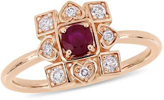 Everly Concerto 10K Rose Gold Statement Ring with Natural Ruby and 0.2 CT. T.W. Diamond