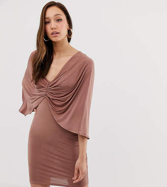 Asos Tall DESIGN Tall kimono sleeve drape knot back mini dress