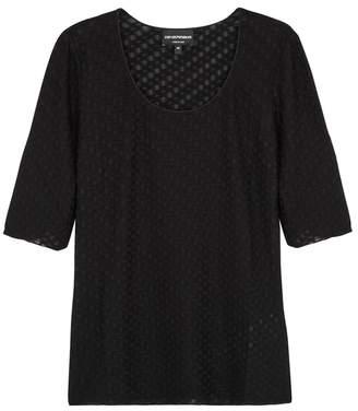 Emporio Armani Black Textured Fine-knit Top