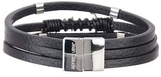 Jean Claude Leather & Stainless Steel Wrap Bracelet