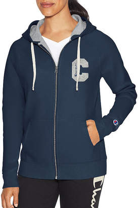 Champion Heritage Fleece Fz Graphic Long Sleeve Hooded Neck T-Shirt-Womens