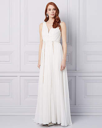 Le Château Embroidered Chiffon V-Neck Gown