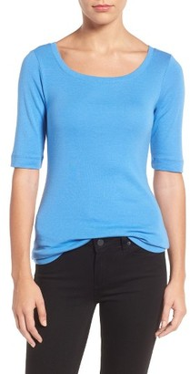 Petite Women's Caslon Ballet Neck Cotton & Modal Knit Elbow Sleeve Tee $26 thestylecure.com