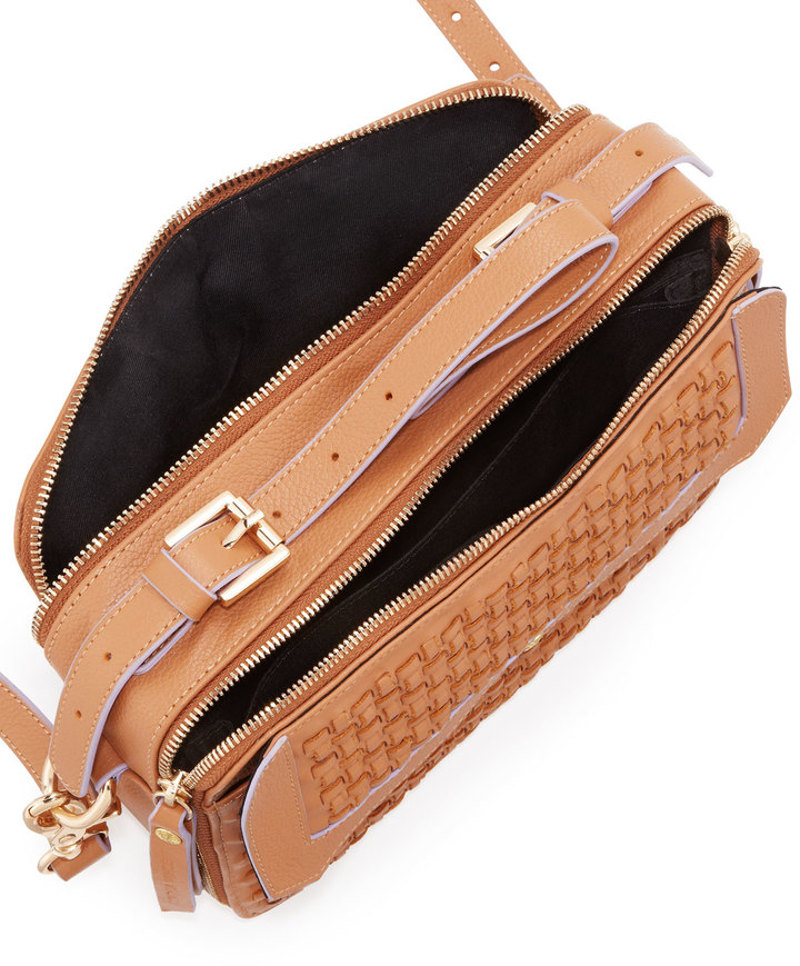 Twelfth St. By Cynthia Vincent Leila Woven Double-Zip Crossbody Bag, Tobacco