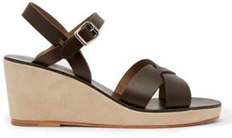 A.p.c. - Judith Leather Wedge Sandals - Womens - Khaki