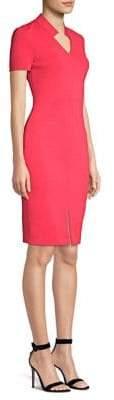 St. John Luxe Scultupre V-Neck Bodycon Dress