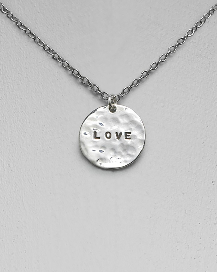GK Designs Women's Single Silver Love Hammered Disc Necklace 16