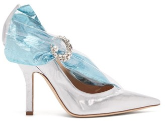 Midnight 00 - Crystal Embellished Lame & Pvc Pumps - Womens - Silver Multi