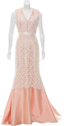 Bibhu Mohapatra Guipure Lace-Accented Evening Dress w/ Tags