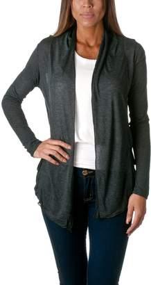 Hollywood Star Fashion Light Weight Flyaway Cardigan Shawl Collar Shrug with Drape Pockets Cardi