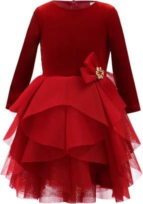 David Charles Tiered Velour & Mesh Dress