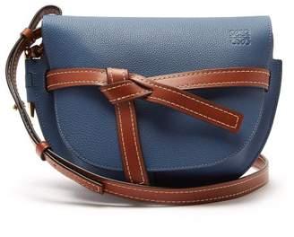 Loewe Gate Small Grained Leather Cross Body Bag - Womens - Blue Multi