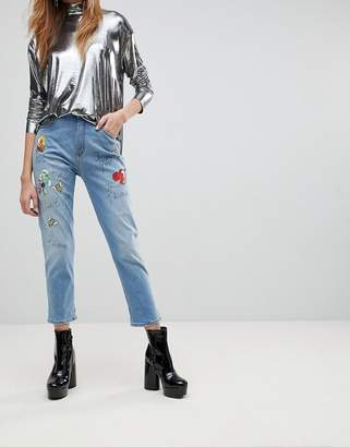 Love Moschino Birds And The Bees Boyfriend Jeans
