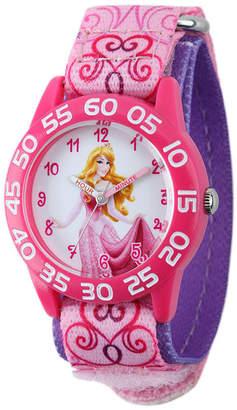 Disney Aurora Kids Pink Printed Nylon Strap Watch