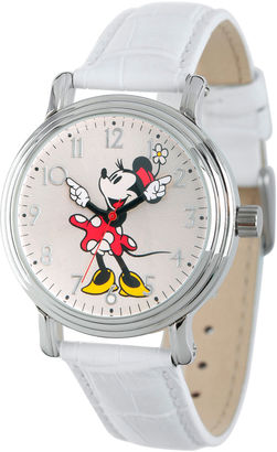 DISNEY Disney Womens White And Silver Tone Vintage Minnie Mouse Strap Watch W002759 $49.99 thestylecure.com