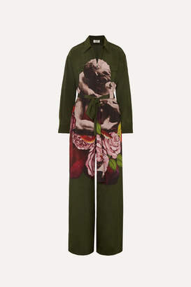 Valentino Printed Silk-georgette Jumpsuit - Army green