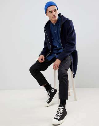 Asos DESIGN wool mix hooded overcoat in navy