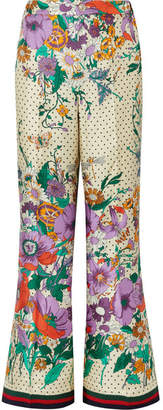 Gucci Printed Silk-charmeuse Wide-leg Pants - Ivory