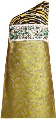 Prada Contrast-panel asymmetric-neck brocade dress