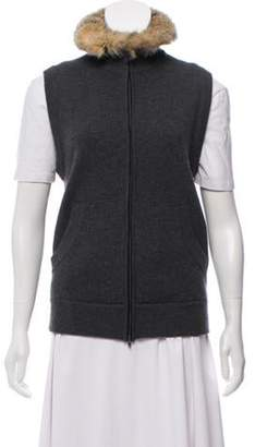 Luciano Barbera Fox Fur-Trimmed Wool Vest Grey Fox Fur-Trimmed Wool Vest