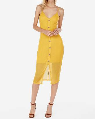 Express Ribbed Button Front Midi Dress