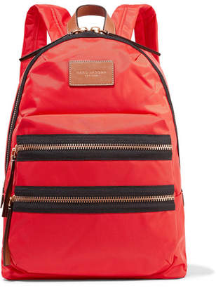 Marc Jacobs - Biker Leather-trimmed Shell Backpack - Red $195 thestylecure.com