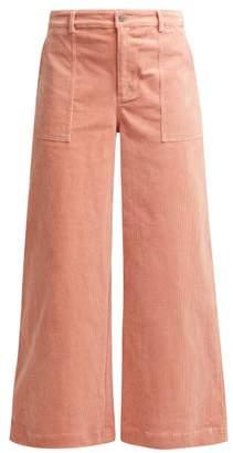 Ganni Ridgewood Wide Leg Corduroy Trousers - Womens - Light Pink