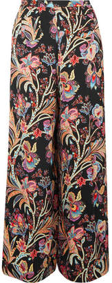 Etro Floral-print Satin Wide-leg Pants - Black