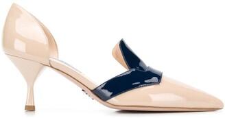 Prada heeled loafer pumps