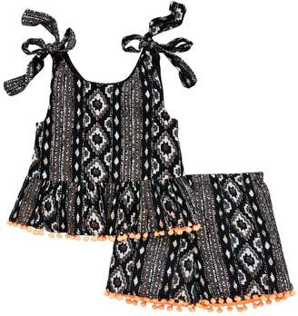 Very Girls Aztec Pom Pom Top And Short Outfit