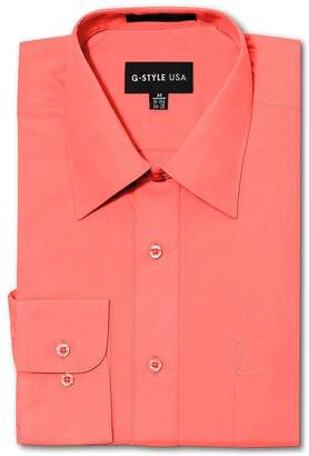 G-Style USA Men's Regular Fit Long Sleeve Solid Color Dress Shirts - Large - 32-33