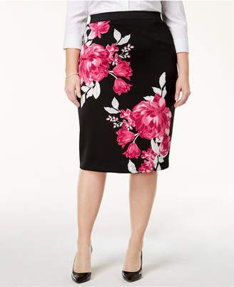 Alfani Plus Size Floral-Print Pencil Skirt, Created for Macy's