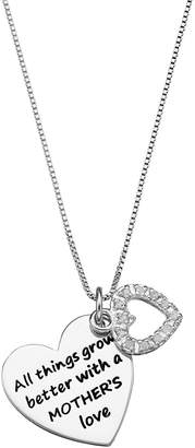 """Charmed By Diamonds CHARMED BY DIAMONDS 1/10 Carat T.W. Diamond Sterling Silver """"Mother's Love"""" Heart Pendant Necklace"""