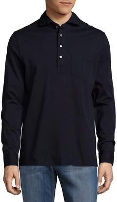 Ralph Lauren Purple Label Men's Keaton Solid Cotton Long-Sleeve Polo