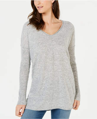 INC International Concepts I.N.C. Ribbed Long-Sleeve Tunic Sweater, Created for Macy's