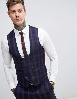 37f1a78635539 Harry Brown navy and burgundy check slim fit suit waistcoat