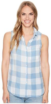 Dylan by True Grit Chambray Buffalo Plaid Sleeveless One-Pocket Shirt Women's Sleeveless