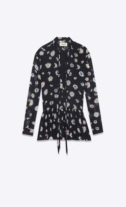 Saint Laurent Mini Lavalliere Dress In Black Etamine With A Multicolored Daisy Print