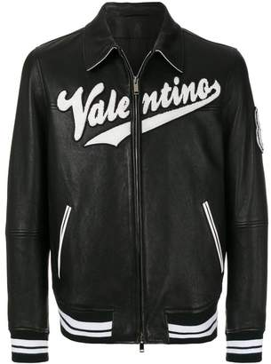 Valentino varsity leather bomber jacket
